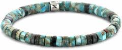 Lichtblauwe Frank 1967 Beads 7FB 0424 natuurstenen armband - stretch - licht blauw / zwart