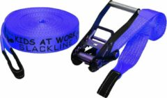 Kids At Work slackline 17,5 meter polyester blauw
