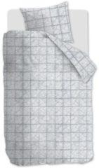 Licht-grijze At Home Ambiante Structure Stripe - Flanel - Dekbedovertrek - Eenpersoons - 140x200/220 cm + 1 kussensloop 60x70 cm - Grijs