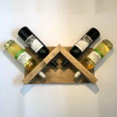 Grijze Van Engelen Interieurs Wijnrek 'Rooftop' | Handgemaakt van gerecycled hout | Landelijk wijnrek