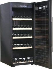 Roestvrijstalen Caviss V1168GBE4 Wijnbewaarkast of Serveerkast voor 168 flessen. Blinkende deur (zwart plexiglas).