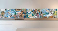 Paarse SoWhat-design Keuken achterwand: Parc Guell, Gaudi Mozaïek 305 x 50 cm