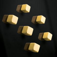Magneet voor glasbord Sigel 10x10x10mm Goud sterk 6 stuks SI-GL717