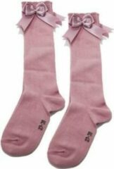 Roze IN Control, kniesokken met satijnen STRIK, 876-2 dusty pink 15/17