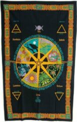 Gele Spiru Authentiek Wandkleed Katoen met Keltische Kalender (215 x 135 cm)