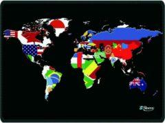 Zwarte Muismat wereldkaart en vlaggen - Sleevy - mousepad - Collectie 100+ designs