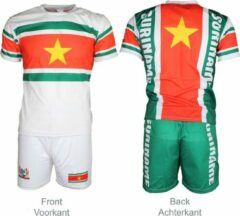 Merkloos / Sans marque Suriname Voetbalshirt + Broek Set Tenue Wit / Geel / Groen / Rood, Maat: 140