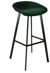 Zwarte Kick Collection Kick barkruk Finn hoog - Velvet Groen