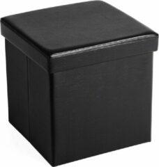 Acaza Opvouwbare Opberg Poef - Voetenbank Met Opbergruimte - Opbergbox Hocker - Zitkist - Zwart - 38 cm Hoog en 38 cm Breed