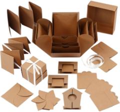 Bruine Creotime Explosion box, afm 7x7x7,5+12x12x12 cm, 1 stuk, kraft