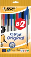 Bic balpen Cristal Medium, couleurs assorties, blister 8 + 2 GRATIS