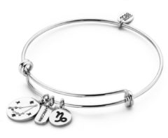 CO88 Collection Horoscope 8CB 90267 Stalen Bangle met Hangers - Sterrenbeeld Steenbok - One-size - Zilverkleurig