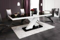 Witte Hubertus Meble Uitschuifbare Eettafel Xenon 160cm tot 210cm - Hoogglans Zwart met wit