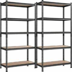 Songmics 2 Stuks Stellingkast / Opbergrek met 5 planken-180 x 90 x 40 cm, tot 875 kg belastbaar, rekken, steekplanken, versterkt stalen frame, 5 verstelbare planken, zwart GLR80BK