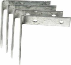 Bellatio Design 4x stuks stoelhoeken / drempelhoeken staal verzinkt - 85 mm - verbinden houten constructies - hoekankers / hoekverbinders