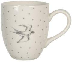 Witte Clayre & Eef Servies Mok SWSMU 11*8*9 cm / 0,3L - grijs Keramiek Beker Koffiemok Kopje