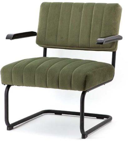 Afbeelding van By-Boo Operator Loungestoel - Groen Fluweel - Zwart Metalen Sledeframe