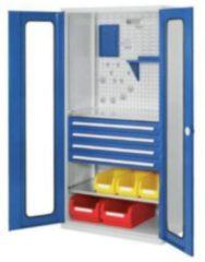 RASTERPLAN Werkzeugschrank 1950x1000x600 mm Türen mit Sichtfenster RAL 7035/7016