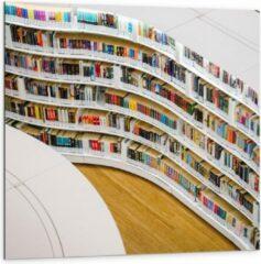 Blauwe KuijsFotoprint Dibond - Boekenkast in Bibliotheek - 100x100cm Foto op Aluminium (Wanddecoratie van metaal)