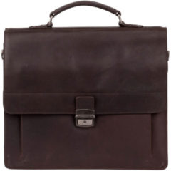 Bruine Burkely Scott Vintage Briefcase 2 Compartment dark brown Herentas
