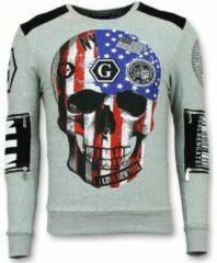 Enos Trui met Doodskop - Sweaters Heren Goedkoop - Amerikaanse Vlag - Grijs Sweaters / Crewnecks Heren Sweater Maat XS