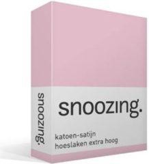 Snoozing katoen-satijn hoeslaken extra hoog - 100% katoen-satijn - 1-persoons (90x200 cm) - Roze