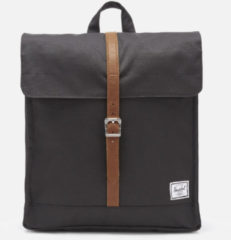 Zwarte Herschel Supply Co. City Mid-Volume Rugzak black/tan synthetic leather Rugzak