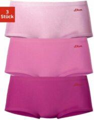 Roze S.Oliver RED LABEL Beachwear hipster met logoprint opzij (3 stuks)