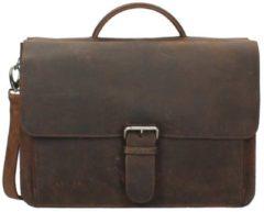 Bruine Plevier 549 - Business laptoptas - vintage volnerf rundleer - 2-vaks - 14 inch