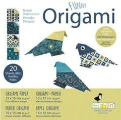 Fridolin Funny Origami: PARKIET 15x15cm, 20 bladen met 4 verschillende tekeningen