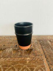 Zwarte Moroccan Garden Set van 2 | Handgemaakte Beldi Espresso Mok | Terracotta | Marokkaanse Espresso Mok