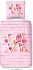 Rosa Kinderbettwäsche, Good Morning, »Love«, mit Schriftzug
