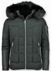 Enos Korte Heren Winterjas – Faux Fur Bontkraag – Zwart Heren Jas XL