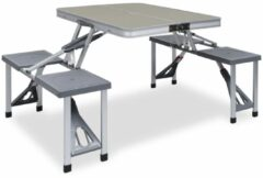 Zilveren VidaXL Campingtafel inklapbaar met 4 zitjes staal en aluminium
