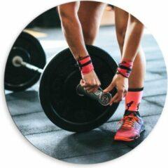 Roze KuijsFotoprint Dibond Wandcirkel - Fitness Gewichtheffen - 80x80cm Foto op Aluminium Wandcirkel (met ophangsysteem)