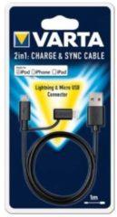 Varta 57943101401 1m USB A Micro-USB B/Lightning Schwarz Handykabel 57943 101 401