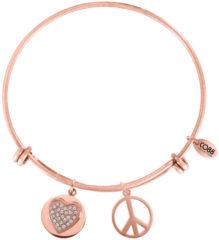 Goudkleurige CO88 Collection Sense 8CB 10007 Stalen Armband met Hangers - Zirkonia Hart en Peace - One-size - Rosékleurig