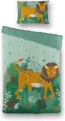 Witte Fresh&Co  Kids Fresh&Co Kids - Eenpersoons Dekbedovertrek King of the Forest 140x200 cm - Katoen - Dekbedovertrek met kussensloop