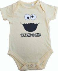 """Larkwood Gele romper met """"Toetjesmonster"""" - 6 tot 12 maanden - babyshower, zwanger, cadeautje, kraamcadeau, grappig, geschenk, baby, tekst, bodieke"""