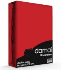 Hoeslaken double jersey Lits-j. XL - 180x220cm & 200x200cm (24) red (tot 25 cm) Damai