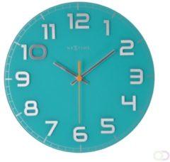 NeXtime Classy Round - Klok - Stil uurwerk - Rond - Glas - Ø30 cm - Turquoise