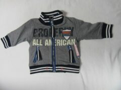 Dirkje, jongens , gilet , grijst / blauw , all american 23 , 92 - 2 jaar