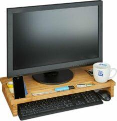 Bruine Relaxdays Monitor standaard - bamboe - monitorverhoger - beeldschermverhoger