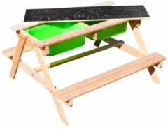 Sunny Dual Top 2.0 Zand & Water Picknicktafel - FSC 100% Hout - Krijtbord en 2 groene bakken