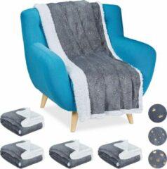 Relaxdays 5 x plaid 150x200 - deken - woonkamer - woondeken - op bank - grijs – punten