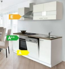 Respekta kitchen economy Respekta Küchenzeile KB220WW 220 cm Weiß