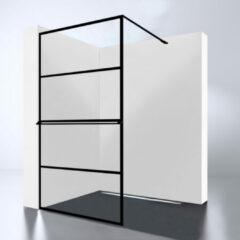 Douche Concurrent Inloopdouche Noire 100x200cm Antikalk Helder Glas Zwart Profiel 10mm Veiligheidsglas Easy Clean