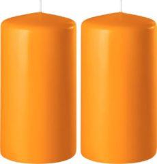 Enlightening Candles 2x Oranje cilinderkaarsen/stompkaarsen 6 x 15 cm 58 branduren - Geurloze kaarsen oranje - Woondecoraties