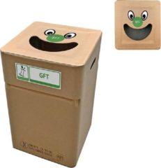 Naturelkleurige Afvalbox Kartonnen afvalbak GFT (herbruikbaar) type smile
