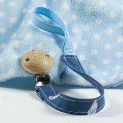 MK Handmade - Speenkoord Veertjes Blauw - Speenklem - Fopspeen - Klem - Speen